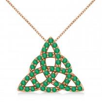 Emerald Trinity Celtic Knot Pendant Necklace 14k Rose Gold (0.45ct)