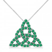 Emerald Trinity Celtic Knot Pendant Necklace 14k White Gold (0.45ct)
