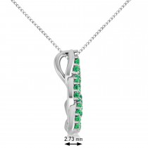 Emerald Trinity Celtic Knot Pendant Necklace 14k White Gold (0.45ct)
