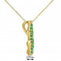 Emerald Trinity Celtic Knot Pendant Necklace 14k Yellow Gold (0.45ct)