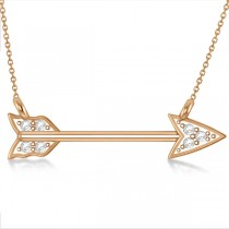 Diamond Cupid's Arrow Pendant Necklace 14k Rose Gold .04 carat