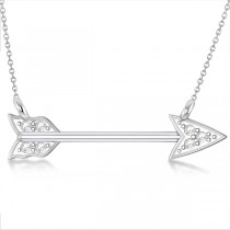 Diamond Cupid's Arrow Pendant Necklace 14k White Gold .04 carat
