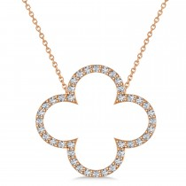 Diamond Clover Pendant Necklace 14K Rose Gold (0.40ct)