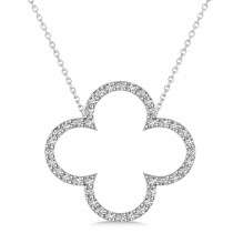 Diamond Clover Pendant Necklace 14K White Gold (0.40ct)