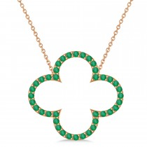 Emerald Clover Pendant Necklace 14K Rose Gold (0.40ct)