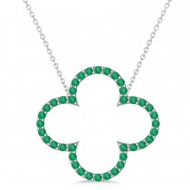 Emerald Clover Pendant Necklace 14K White Gold (0.40ct)