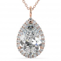 Halo Pear Shaped Diamond Pendant Necklace 14k Rose Gold (4.69ct)