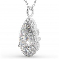 Halo Pear Shaped Diamond Pendant Necklace 14k White Gold (4.69ct)