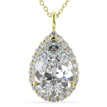 Halo Pear Shaped Diamond Pendant Necklace 14k Yellow Gold (4.69ct)