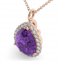 Halo Amethyst & Diamond Pear Shaped Pendant Necklace 14k Rose Gold (5.44ct)