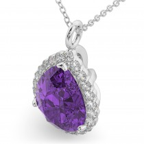 Halo Amethyst & Diamond Pear Shaped Pendant Necklace 14k White Gold (5.44ct)