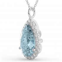 Halo Aquamarine & Diamond Pear Shaped Pendant Necklace 14k White Gold (6.04ct)