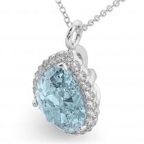 Halo Aquamarine & Diamond Pear Shaped Pendant Necklace 14k White Gold (6.04ct)