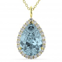 Halo Aquamarine & Diamond Pear Shaped Pendant Necklace 14k Yellow Gold (6.04ct)