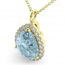 Halo Aquamarine & Diamond Pear Shaped Pendant Necklace 14k Yellow Gold (6.04ct)
