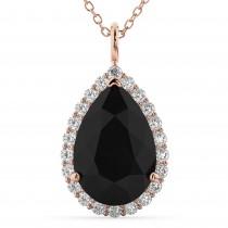 Halo Black Diamond & Diamond Pear Shaped Pendant Necklace 14k Rose Gold (4.69ct)