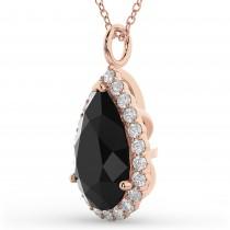 Halo Pear Shaped Black Diamond Necklace 14k Rose Gold (4.69ct)