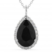 Halo Pear Shaped Black Diamond Necklace 14k White Gold (4.69ct)