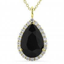 Halo Pear Shaped Black Diamond Necklace 14k Yellow Gold (4.69ct)