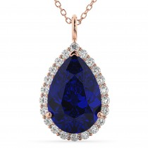 Halo Blue Sapphire & Diamond Pear Shaped Pendant Necklace 14k Rose Gold (8.34ct)