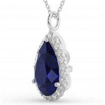 Halo Blue Sapphire & Diamond Pear Shaped Pendant Necklace 14k White Gold (8.34ct)