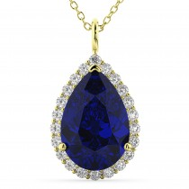 Halo Blue Sapphire & Diamond Pear Shaped Pendant Necklace 14k Yellow Gold (8.34ct)