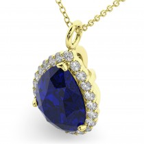 Halo Blue Sapphire & Diamond Pear Shaped Pendant Necklace 14k Yellow Gold (8.34ct)