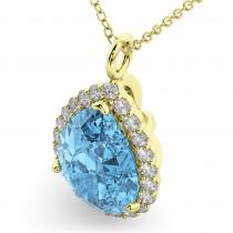 Halo Blue Topaz & Diamond Pear Shaped Pendant Necklace 14k Yellow Gold (8.94ct)