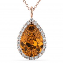 Halo Citrine & Diamond Pear Shaped Pendant Necklace 14k Rose Gold (5.44ct)