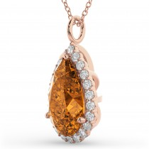 Halo Citrine & Diamond Pear Shaped Pendant Necklace 14k Rose Gold (5.44ct)