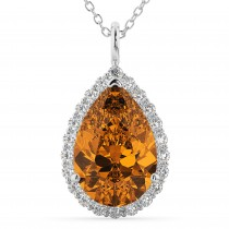 Halo Citrine & Diamond Pear Shaped Pendant Necklace 14k White Gold (5.44ct)