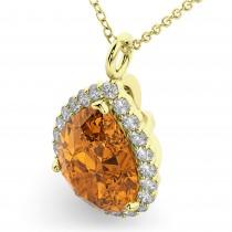 Halo Citrine & Diamond Pear Shaped Pendant Necklace 14k Yellow Gold (5.44ct)