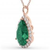 Halo Emerald & Diamond Pear Shaped Pendant Necklace 14k Rose Gold (6.54ct)