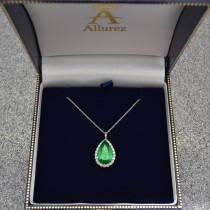 Halo Emerald & Diamond Pear Shaped Pendant Necklace 14k White Gold (6.54ct)