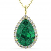Halo Emerald & Diamond Pear Shaped Pendant Necklace 14k Yellow Gold (6.54ct)