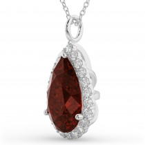 Halo Garnet & Diamond Pear Shaped Pendant Necklace 14k White Gold (6.24ct)