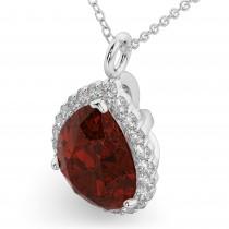 Halo Garnet & Diamond Pear Shaped Pendant Necklace 14k White Gold (6.24ct)