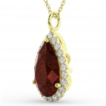 Halo Garnet & Diamond Pear Shaped Pendant Necklace 14k Yellow Gold (6.24ct)