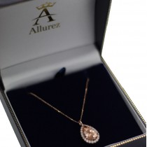 Halo Morganite & Diamond Pear Shaped Pendant Necklace 14k Rose Gold (4.04ct)
