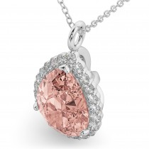Halo Morganite & Diamond Pear Shaped Pendant Necklace 14k White Gold (4.04ct)