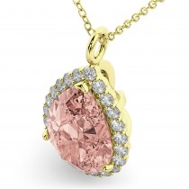 Halo Morganite & Diamond Pear Shaped Pendant Necklace 14k Yellow Gold (4.04ct)