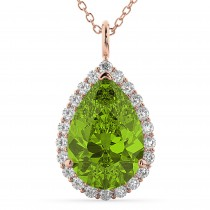 Halo Peridot & Diamond Pear Shaped Pendant Necklace 14k Rose Gold (5.19ct)