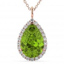 Halo Peridot & Diamond Pear Shaped Pendant Necklace 14k Rose Gold (5.19ct)