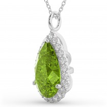 Halo Peridot & Diamond Pear Shaped Pendant Necklace 14k White Gold (5.19ct)
