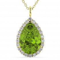Halo Peridot & Diamond Pear Shaped Pendant Necklace 14k Yellow Gold (5.19ct)