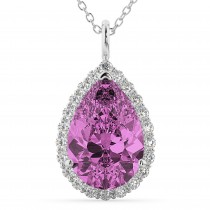 Halo Pink Sapphire & Diamond Pear Shaped Pendant Necklace 14k White Gold (8.34ct)