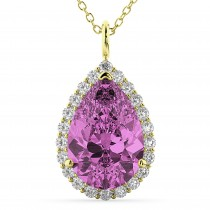 Halo Pink Sapphire & Diamond Pear Shaped Pendant Necklace 14k Yellow Gold (8.34ct)