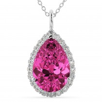 Halo Pink Tourmaline & Diamond Pear Shaped Pendant Necklace 14k White Gold (7.19ct)