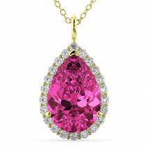 Halo Pink Tourmaline & Diamond Pear Shaped Pendant Necklace 14k Yellow Gold (7.19ct)