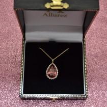 Halo Pink Tourmaline & Diamond Pear Shaped Pendant Necklace 14k Yellow Gold (7.19ct)